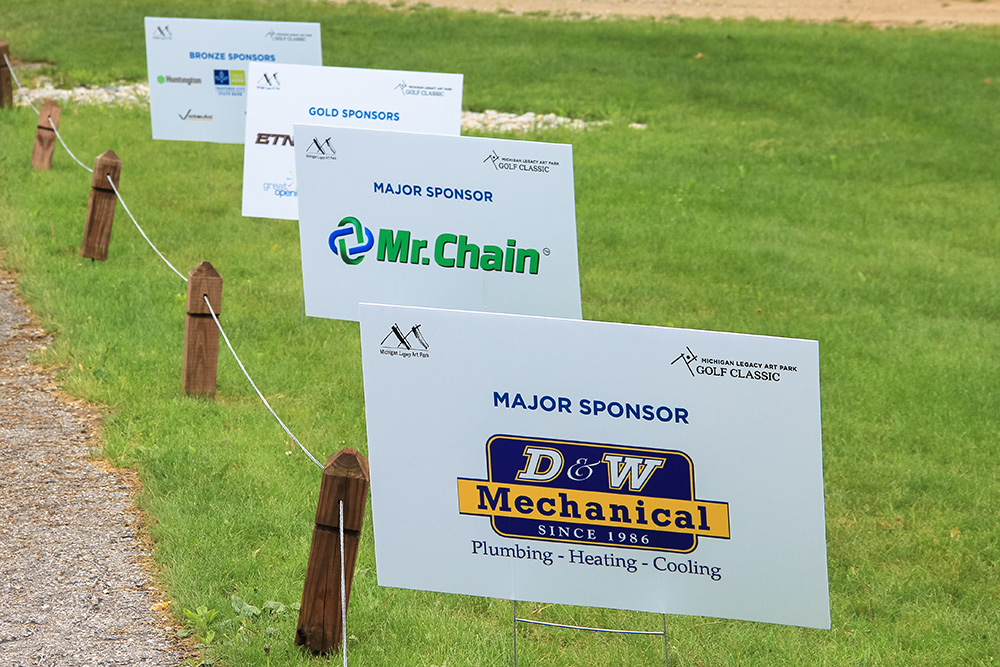 Sponsors signs at the Golf Classic fundraiser