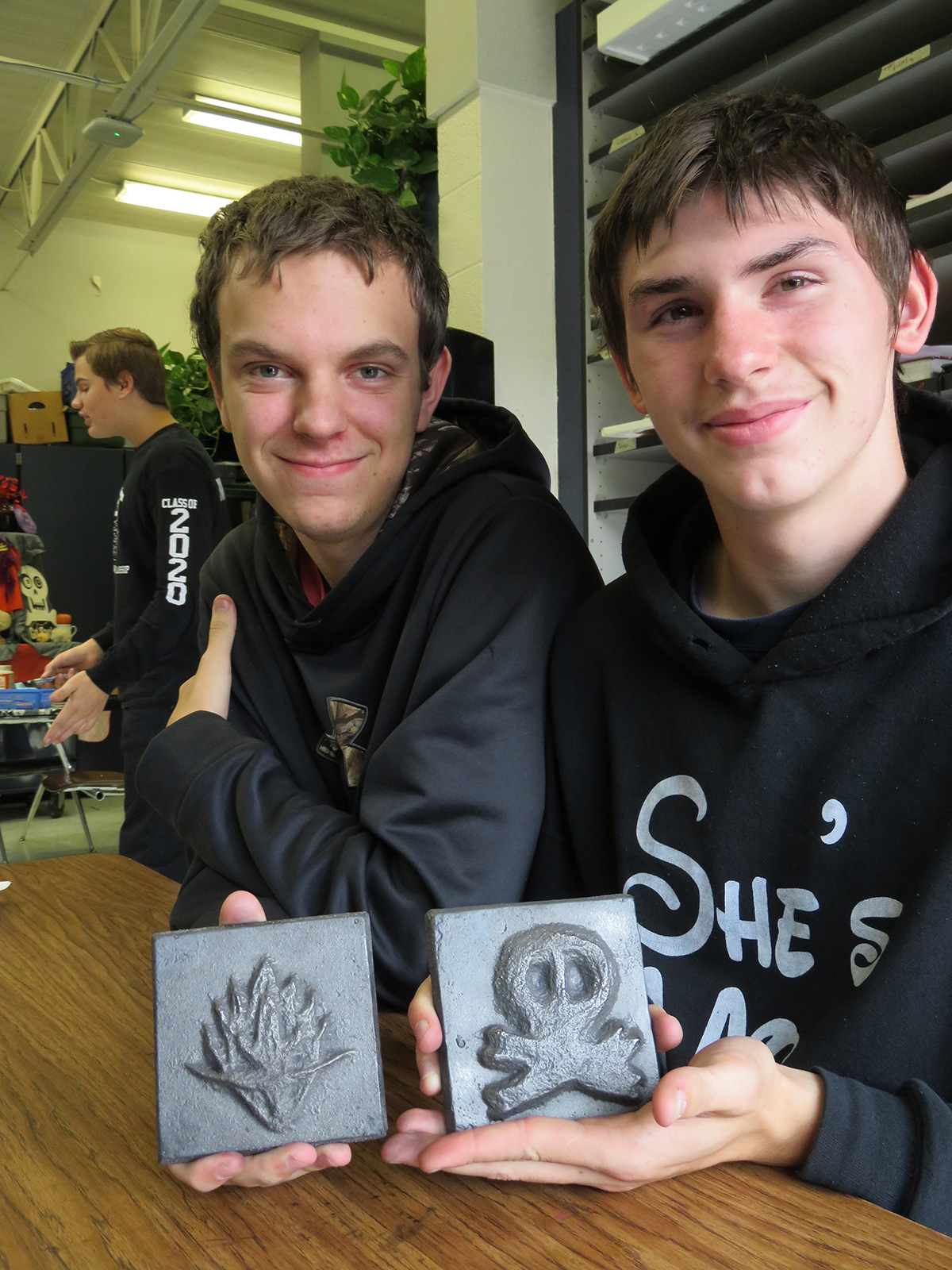 Brethren students with iron tiles