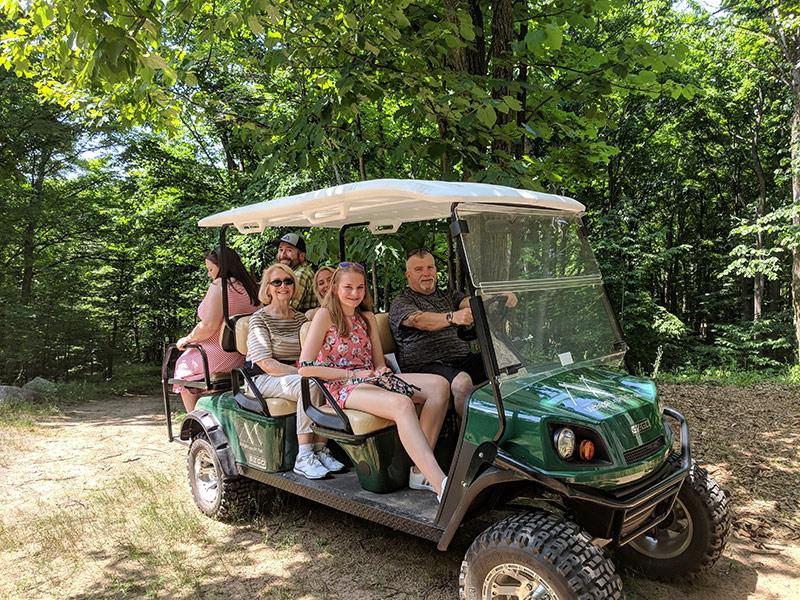 Golf cart tour of Michigan Legacy Art Park